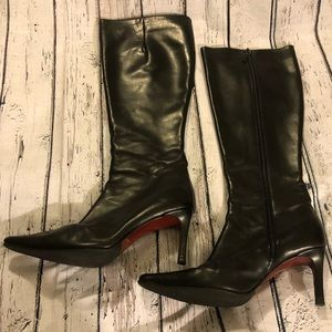 Burberry Knee High Leather Boots Black 7 37 Zip